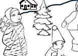 Coloriage de No�l Village